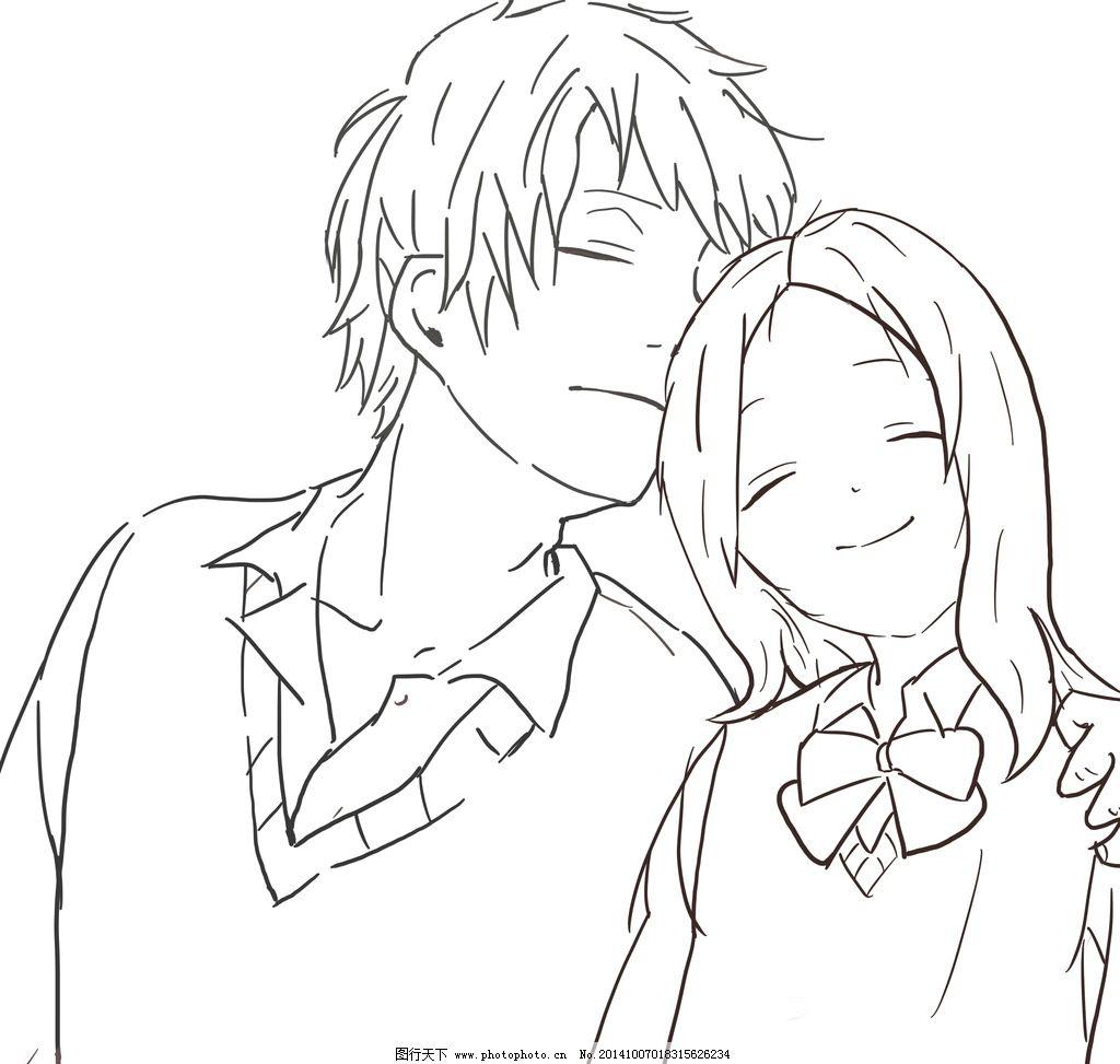 手绘 线稿 动漫 人物 情侣 设计 动漫动画 动漫人物 256dpi jpg