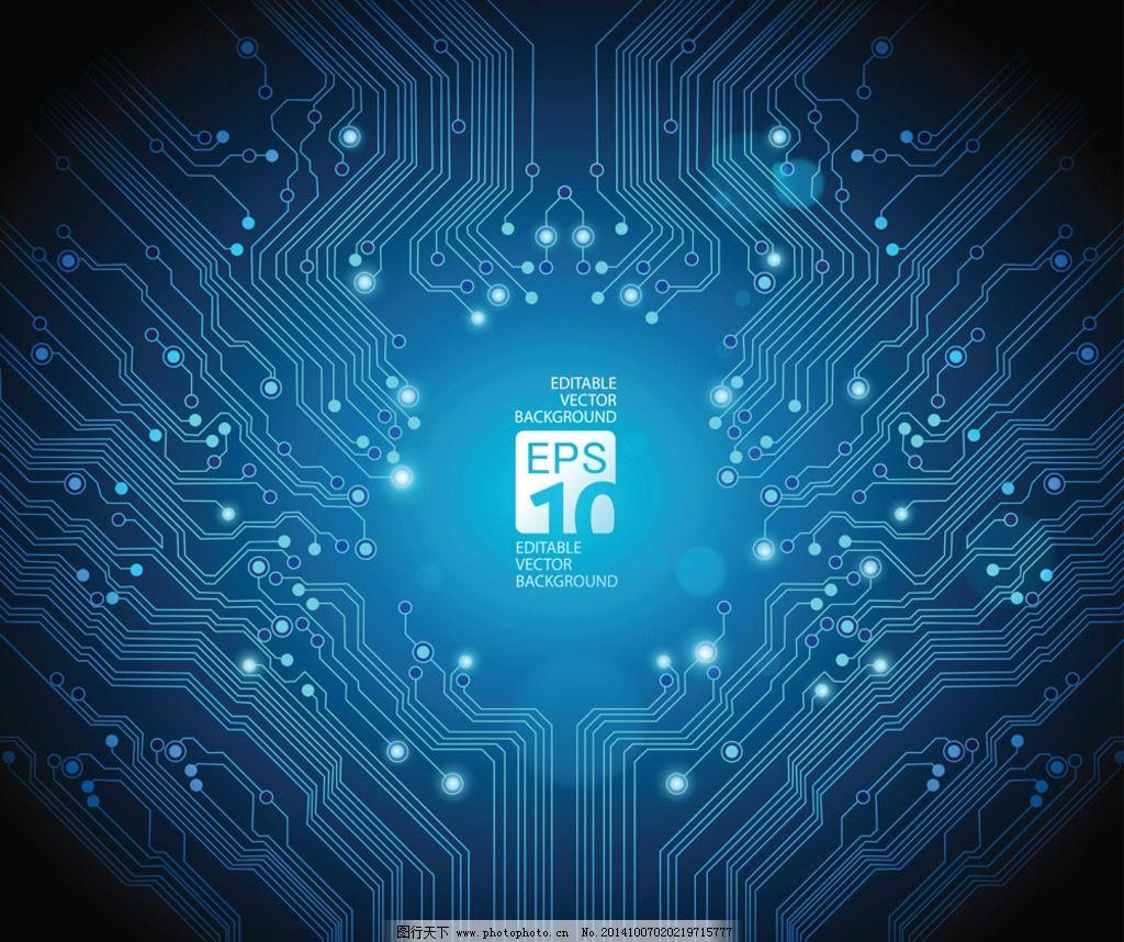 科技线路界面-壁纸 高清蓝色电路图