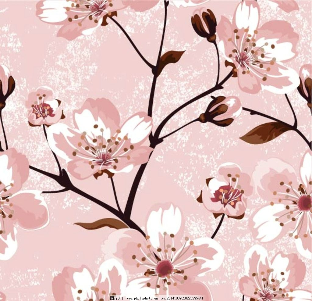 樱花 桃花 手绘花卉 手绘花朵