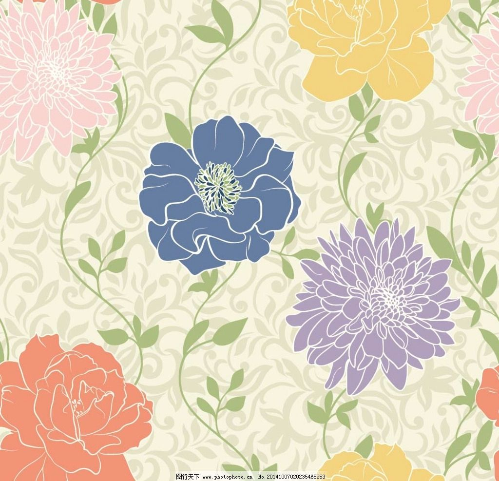 背景花纹 花卉 鲜花 花朵 花瓣 植物 绿植 鲜花图案 手绘 漫画 彩绘