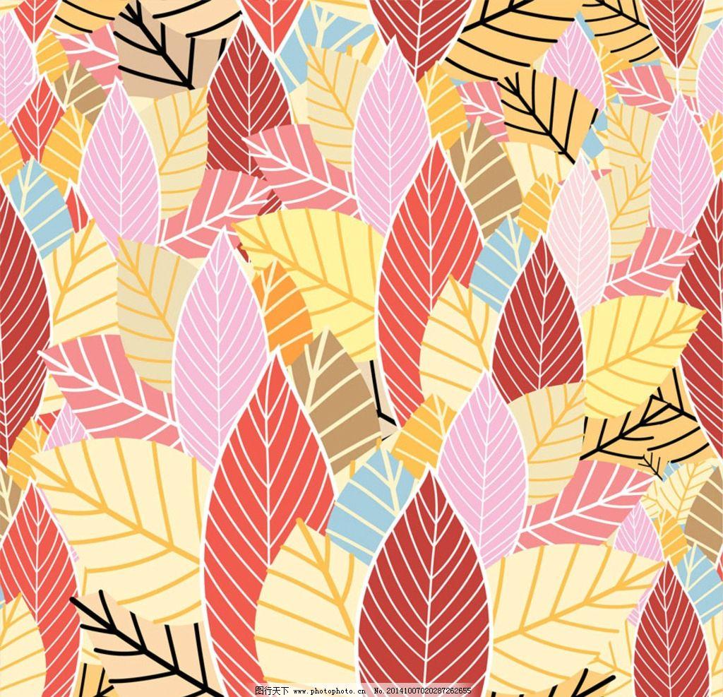 叶子花纹 树叶 手绘花卉 手绘花朵 手绘鲜花 鲜花背景 花卉插画图片