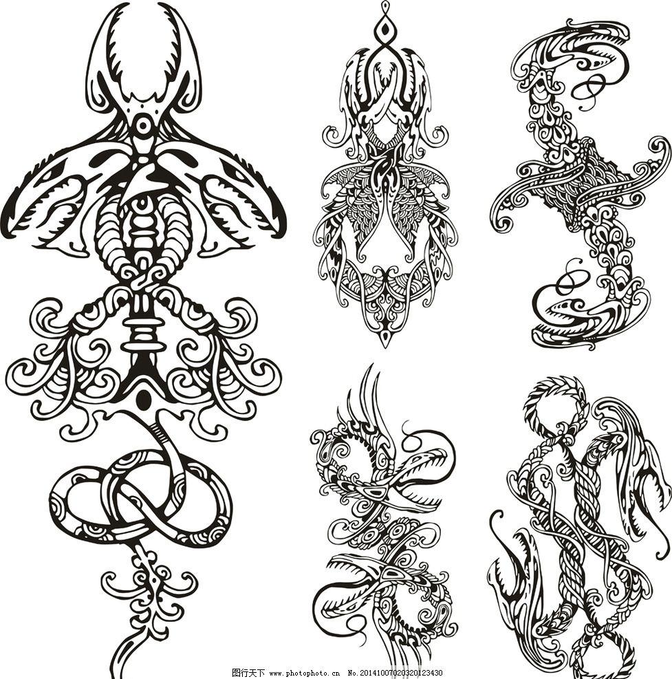 纹身 手绘 图腾 花纹 纹样 花边 蛇 纹身图案 设计 底纹边框 花边花纹