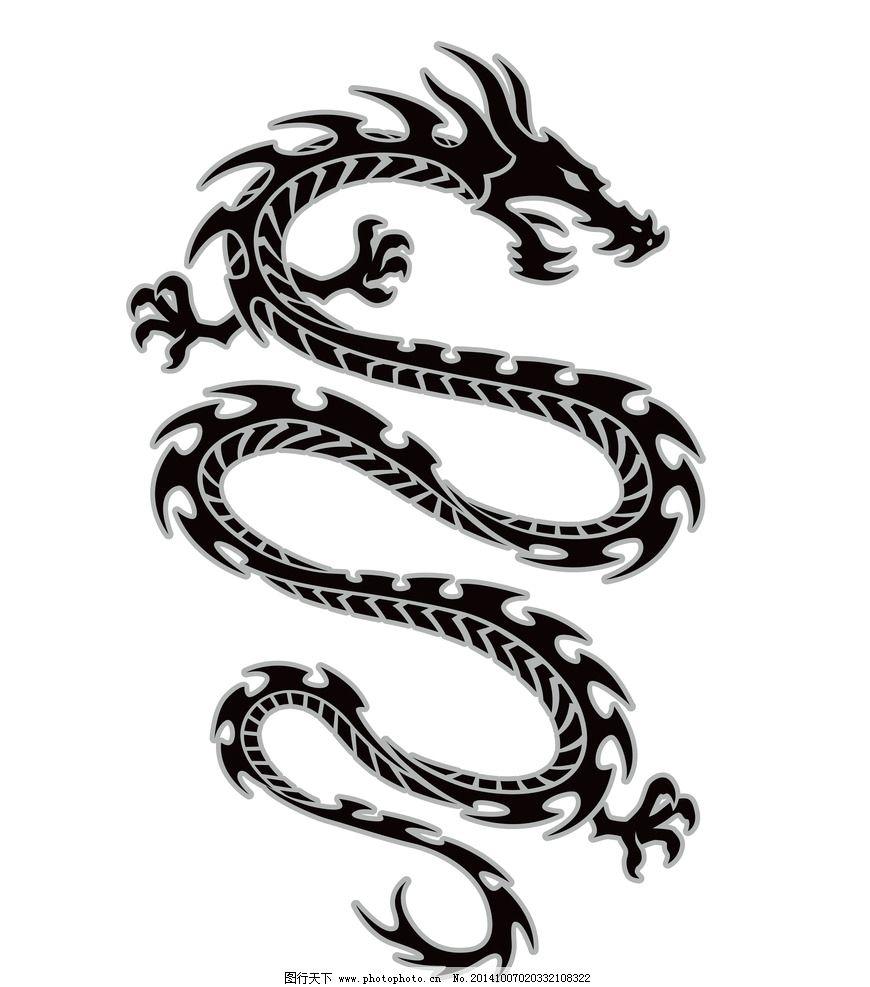 纹身 手绘 图腾 花纹 纹样 花边 中国龙 龙纹 纹身图案 设计 底纹边框