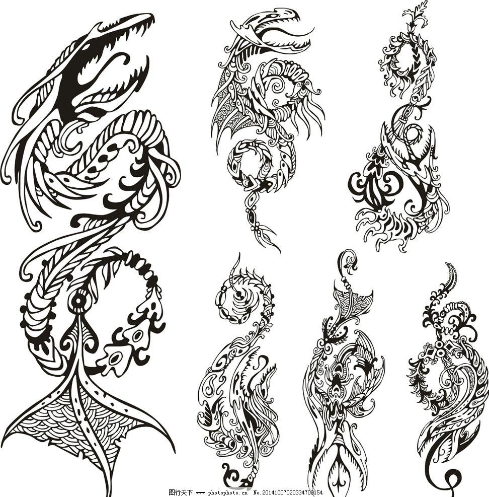 纹身 手绘 图腾 花纹 龙纹 纹样 花边 纹身图案 设计 底纹边框 花边