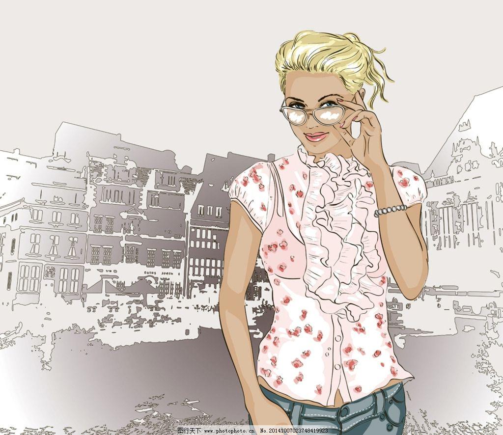 手绘少女 女孩 女人 时尚美女 卡通女生 简笔画插图 矢量人物 设计