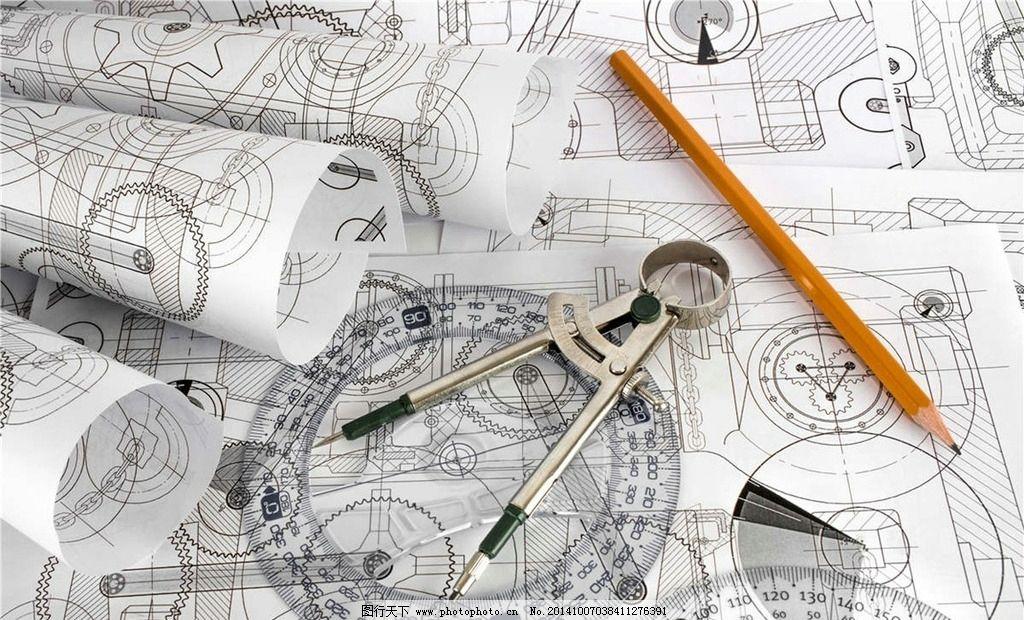 圆规 铅笔 图纸 工业图纸 设计图纸 工程图纸 尺子 摄影 现代科技