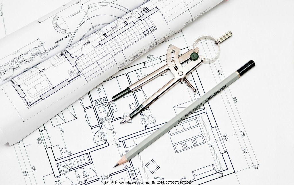 建筑图纸 平面设计图 铅笔 直尺 圆规 工程图纸 手绘 施工图 美术绘画