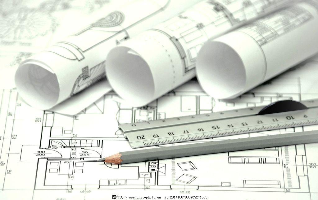 建筑图纸 平面设计图 铅笔 直尺 工程图纸 手绘 施工图 美术绘画 摄影
