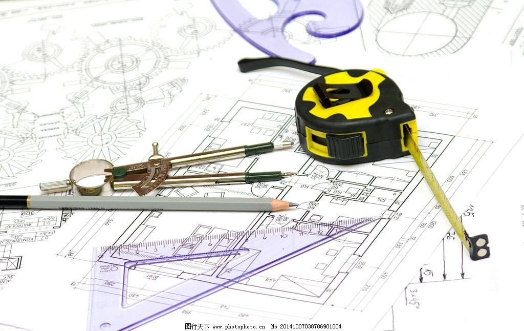 建筑图纸 平面设计图 铅笔 卷尺 圆规 工程图纸 手绘 施工图 美术绘画