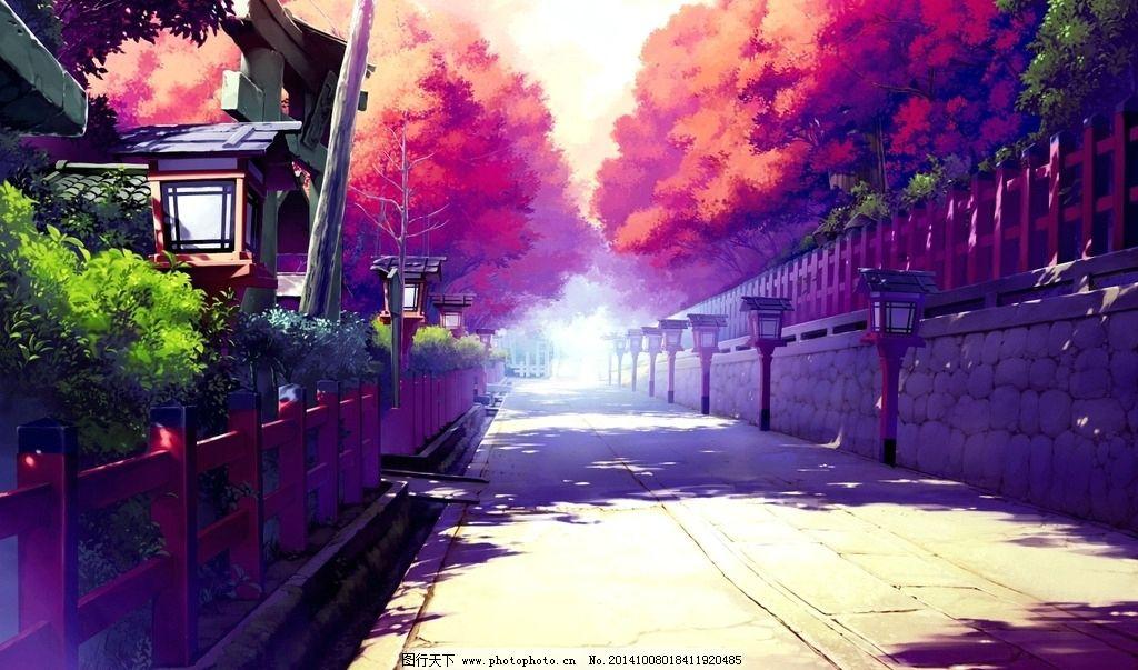 水彩 手绘 街景 幽静 图片