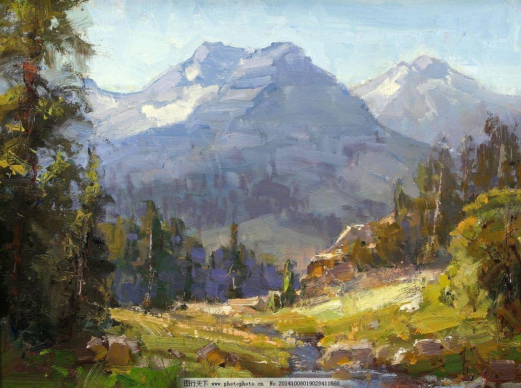 油画 风景油画 写生 外国油画 绘画 树林 草地 风景 油画 风景油画