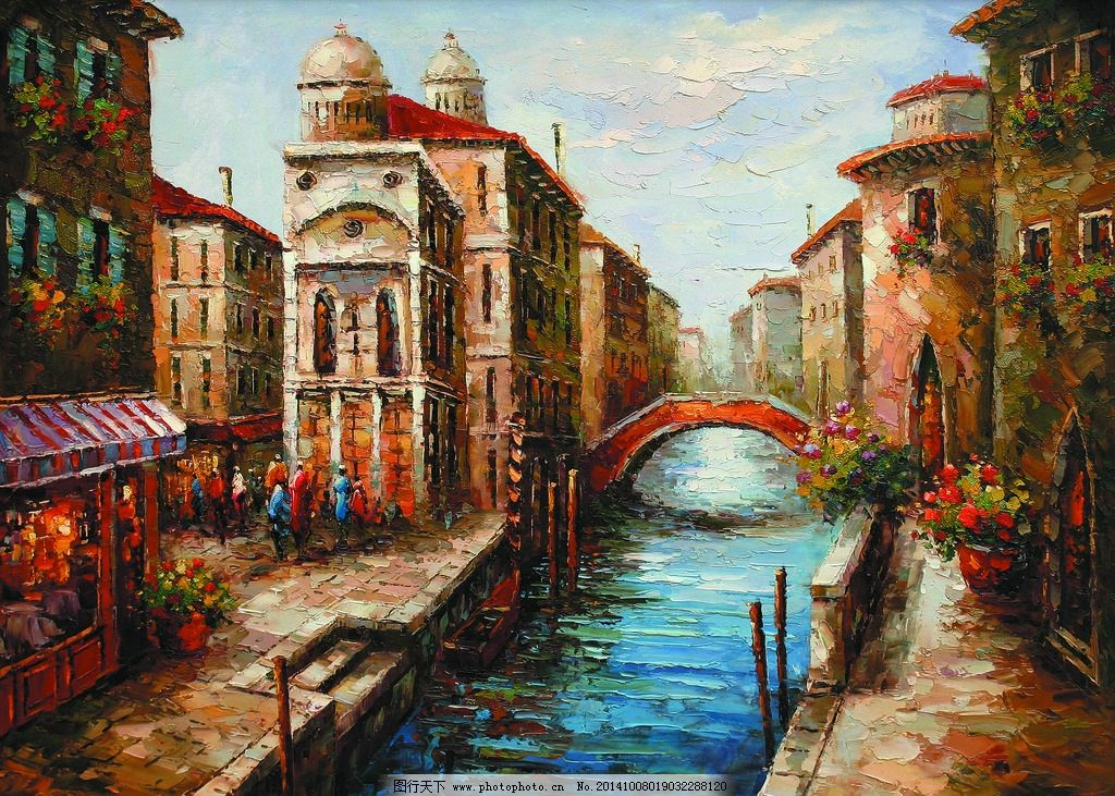 欧洲小城 美术 油画 风景 城市 街景 大楼 河滨 小桥 人物图片