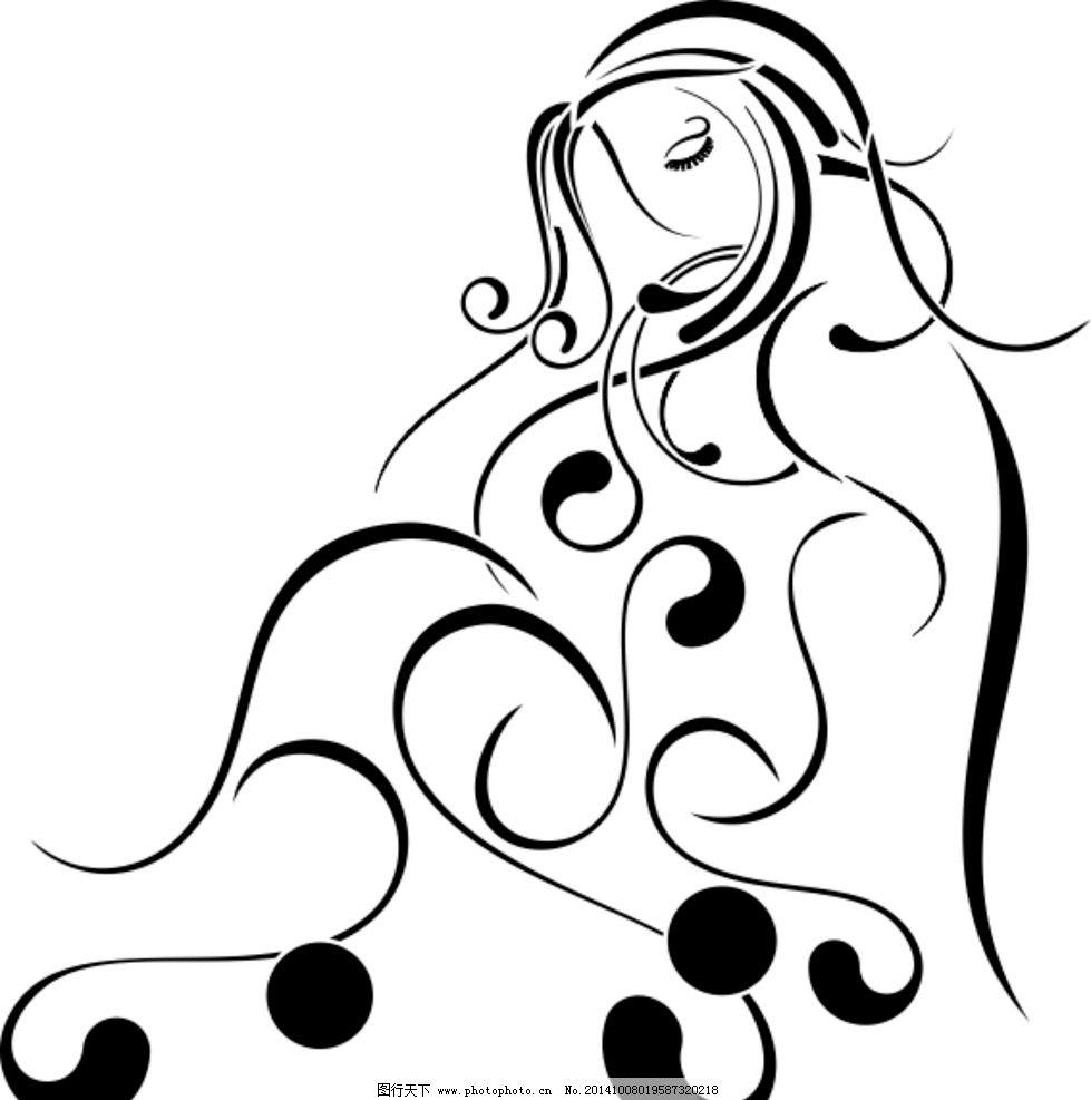 美女 素描 手绘 矢量图 抽象 手绘矢量图 设计 文化艺术 其他  cdr