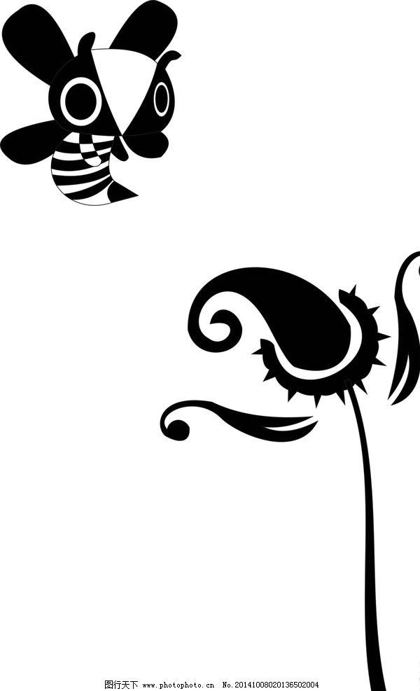 花 蜜蜂 图案 涂鸦 文案设计  设计 标志图标 其他图标  cdr