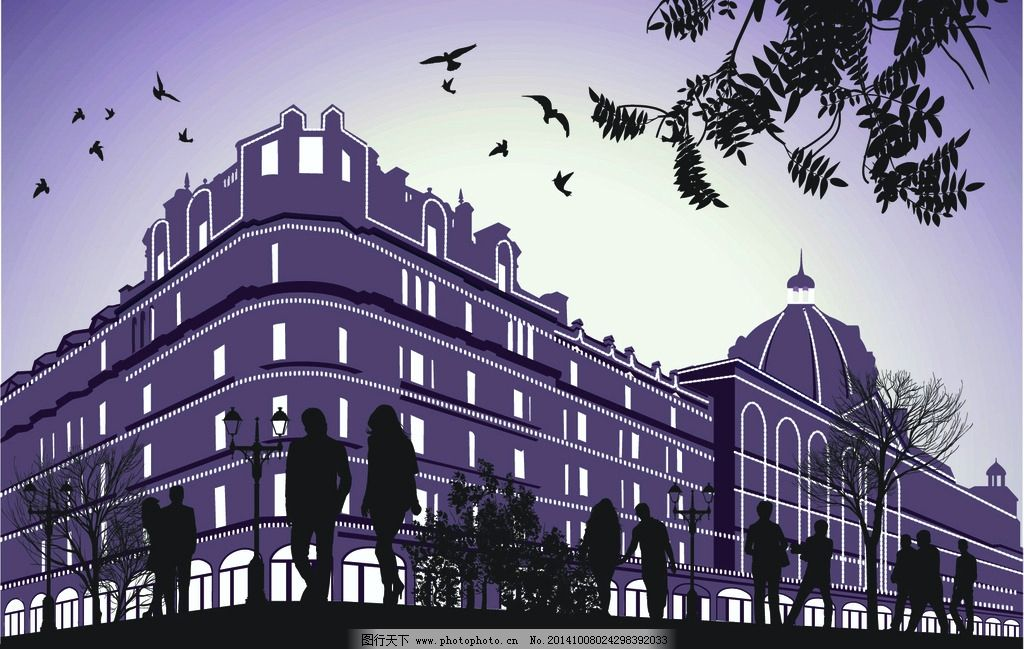 素描建筑物 国外建筑 建筑风景