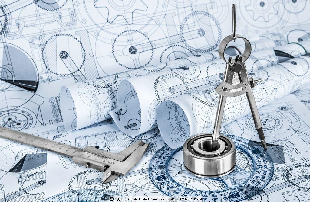 工程图纸 测量工具 平面设计图 轴承 圆规 游标卡尺 示意图 设计图 绘