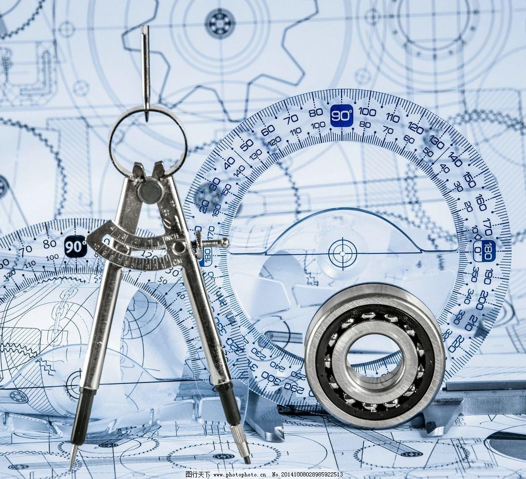 工程图纸 测量工具 平面设计图 轴承 圆规 示意图 设计图 绘制 设计