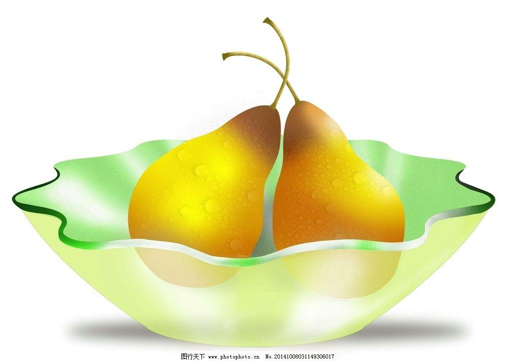 PS梨与透明盘 水珠梨 透明水果盘 绿果盘 生活百科 餐饮美食