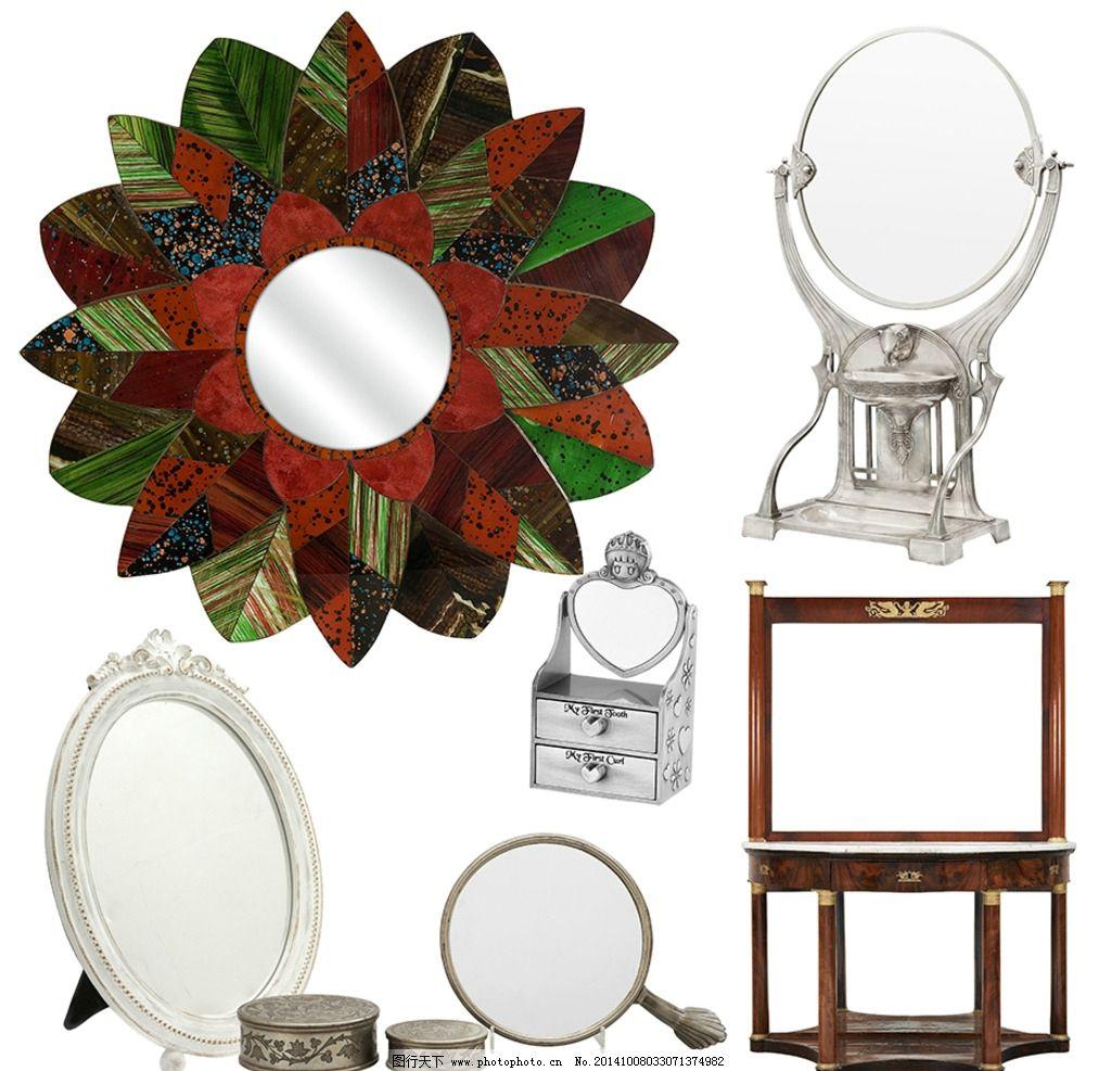 镜子素材 化妆镜 台面镜 圆形 椭圆镜 方形 古典镜子 欧式镜子
