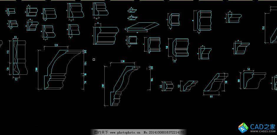 设计图库 环境设计 家居设计  欧式线条免费下载 cad图纸 欧式线条