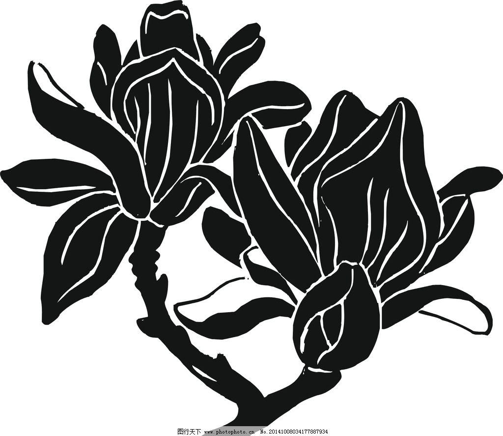 玉兰花 矢量图 黑白稿图片