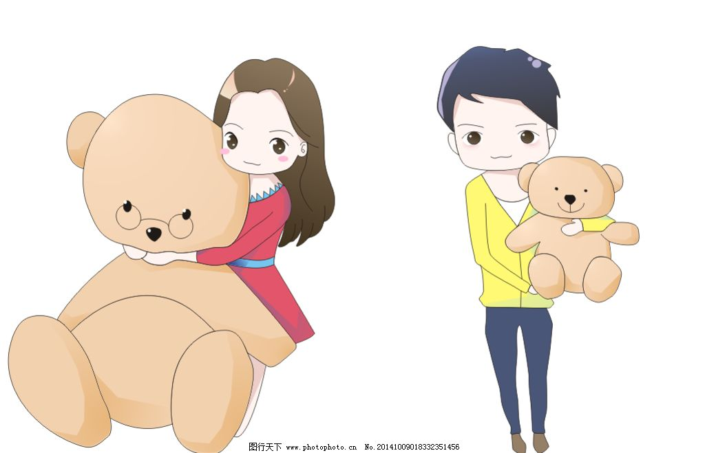 q版 卡通 动漫 情侣 娃娃 熊 人物 设计 动漫动画 动漫人物 cdr
