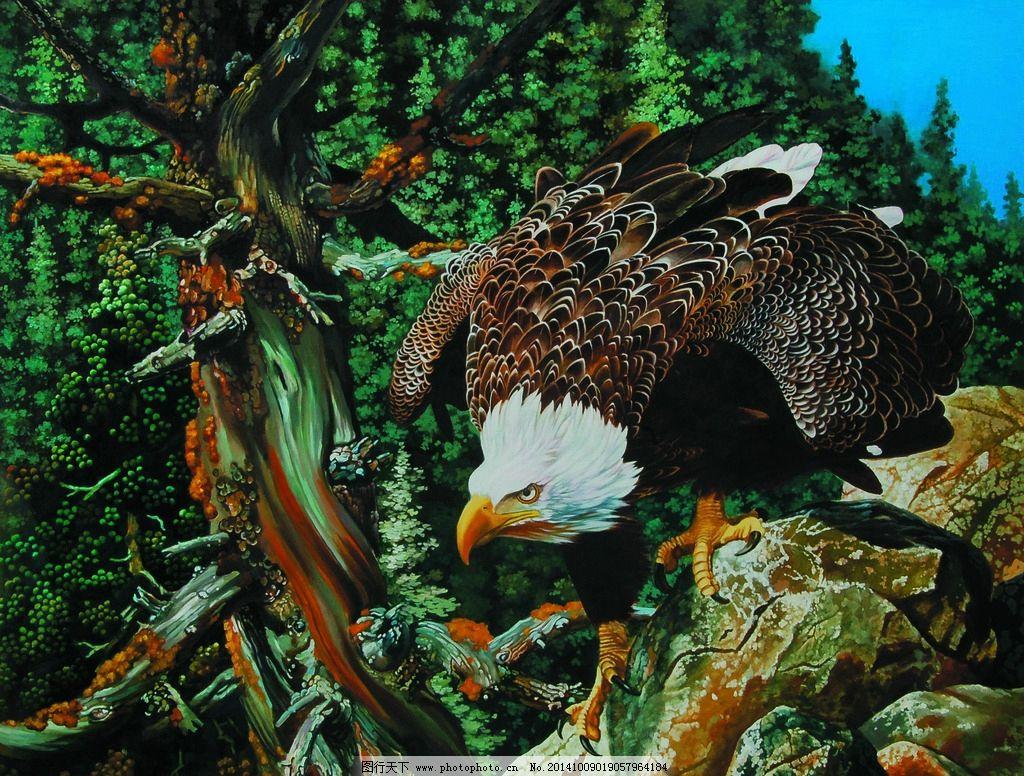 油画 动物画 老鹰