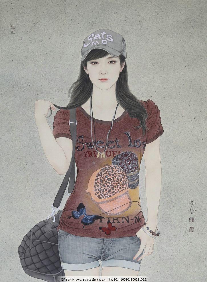 中国画工笔画现代美女 崔景哲 人物工笔画 美女工笔 古代仕女 美女画