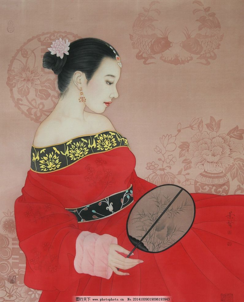 中国画工笔画古代侍女 崔景哲 人物工笔画 美女工笔 古代仕女 美女画