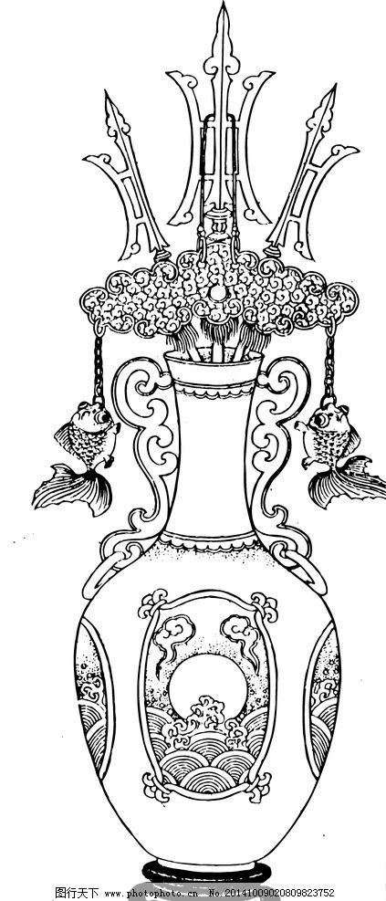 花瓶 青花瓷 瓷瓶线描 矢量线稿 图腾 花纹 祥云 吉祥图腾 印花 剪影