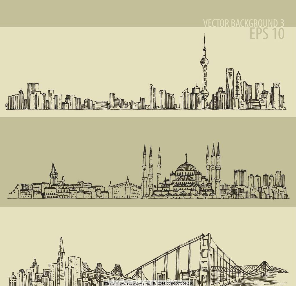设计图库 环境设计 建筑设计  手绘建筑 建筑写生 中国上海 泰姬陵 简