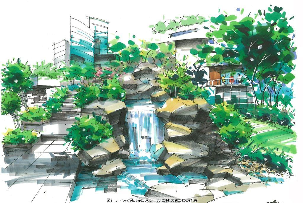 景观设计手绘 景观手绘 马克笔手绘 手绘设计 建筑手绘 手绘表现
