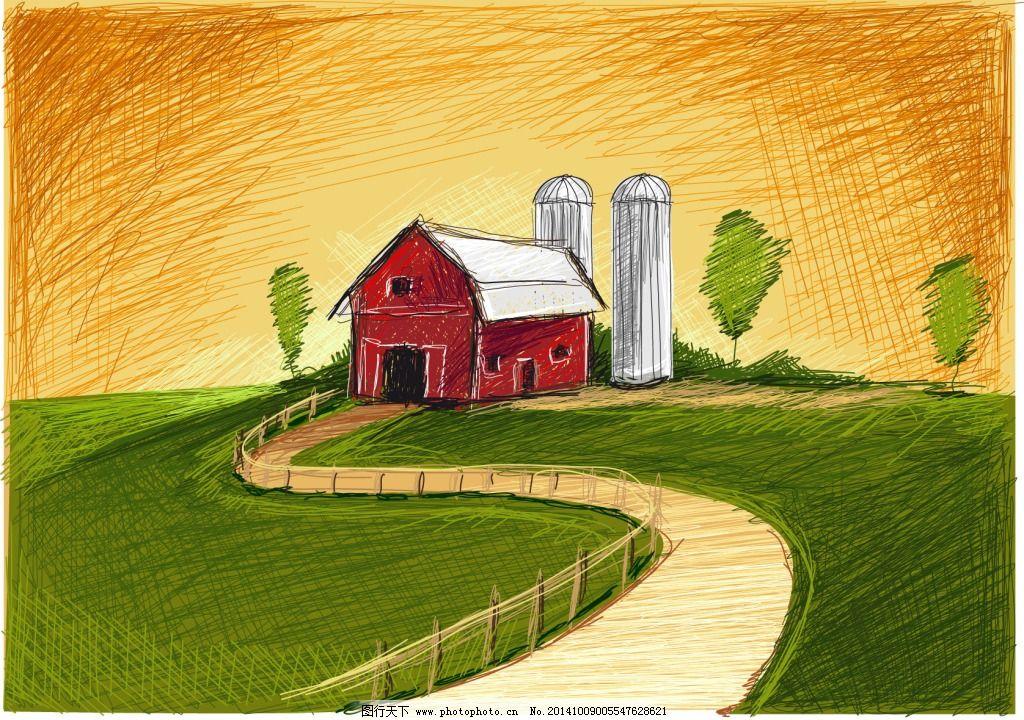 手绘 小房子 小路 自然 手绘 自然 小房子 小路 矢量图 其他矢量图