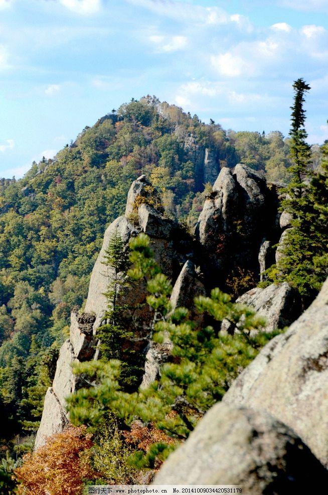 朗乡石林 蓝天白云 山峰 树木 仙翁山 摄影 自然景观 山水风景