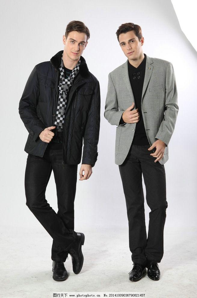 国外西装双人男模图片