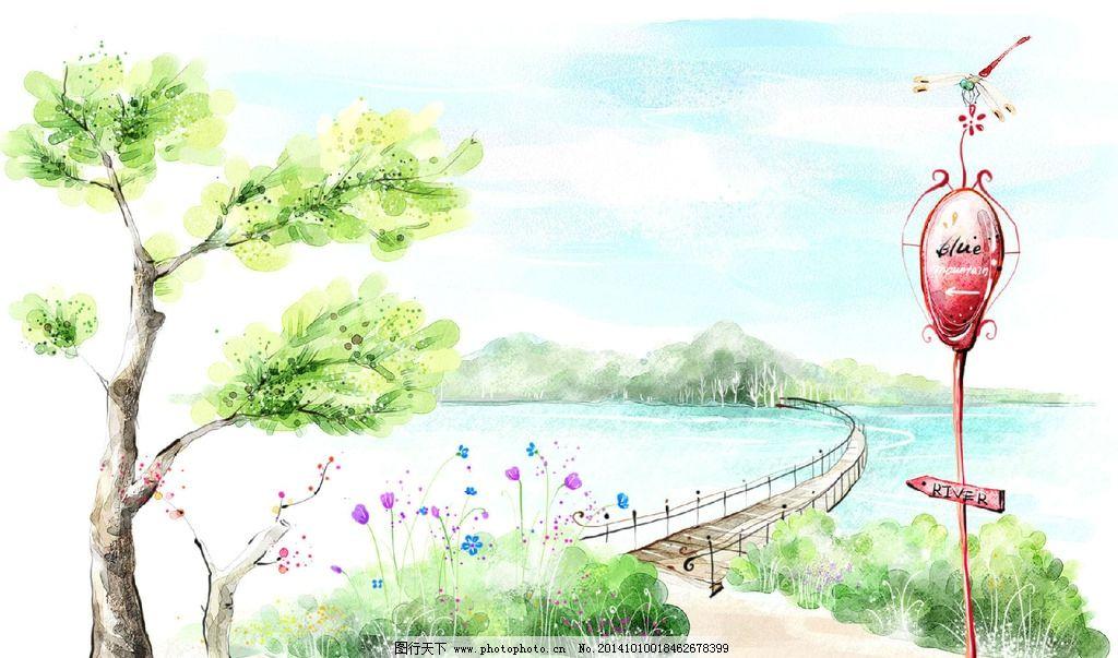 浪漫风景图 手绘 绿色 桥树 动漫动画