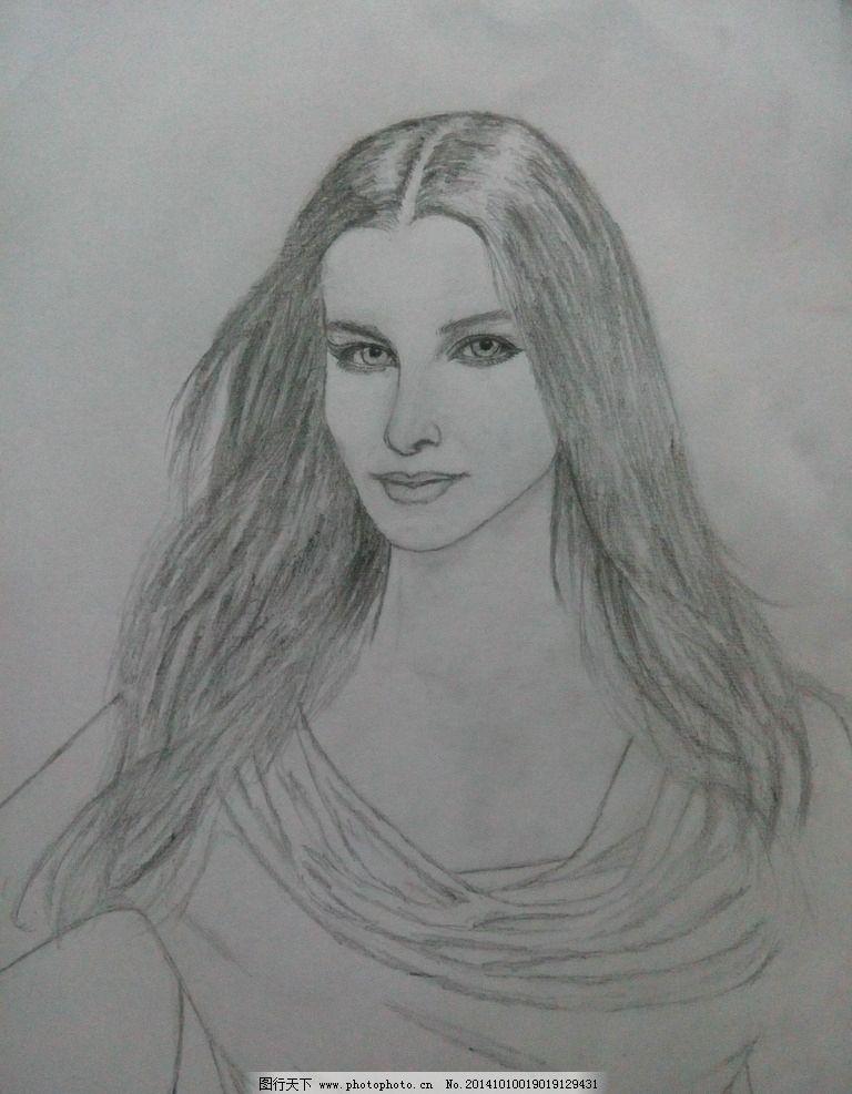 铅笔画 女头像