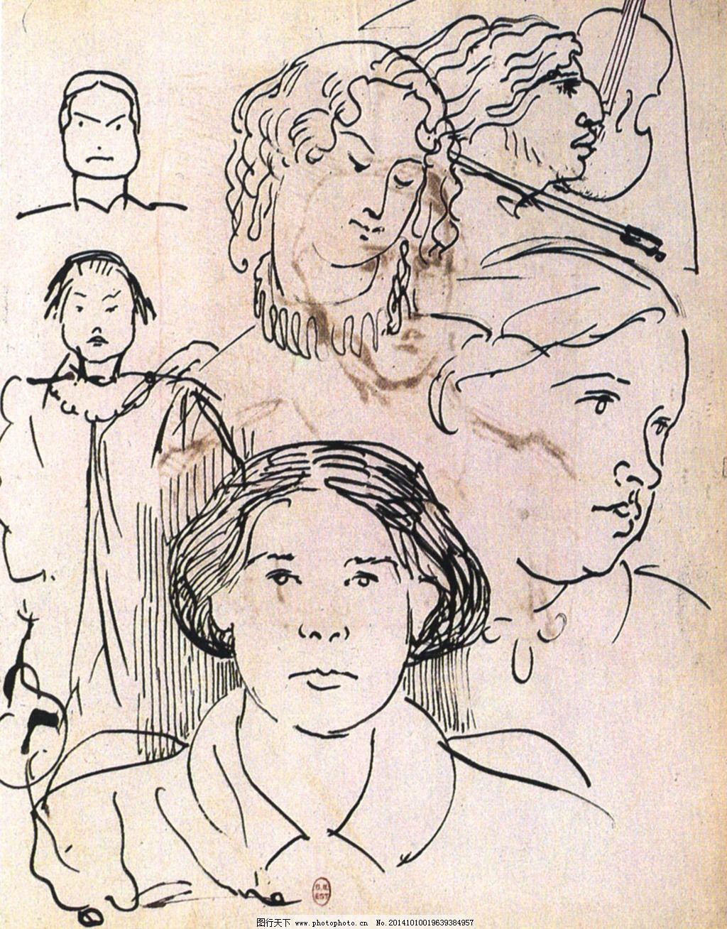 名画 人物 手绘 素描 唯美 线条 素描 人物 线条 唯美 手绘 名画 图片
