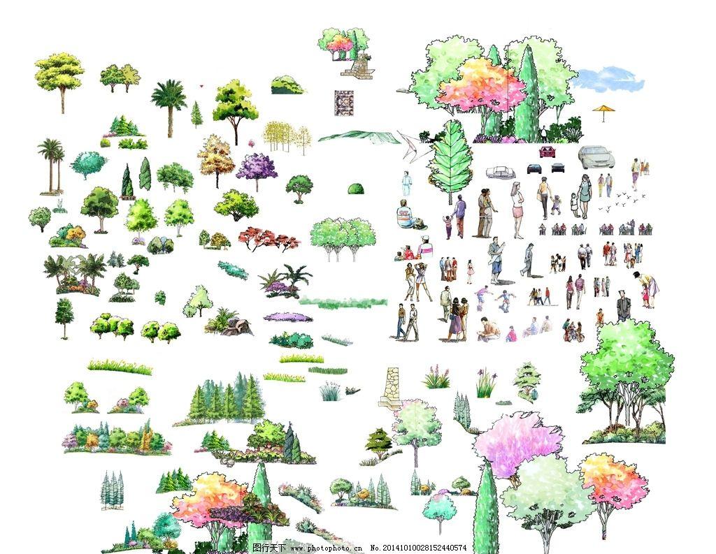 景观素材模板 景观素材 园林景观 手绘立面素材 景观 手绘 立面树