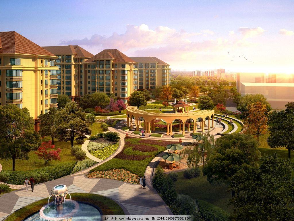 园林 景观设计 小区园林 园林鸟瞰图 小区景观 小区鸟瞰图 连廊设计