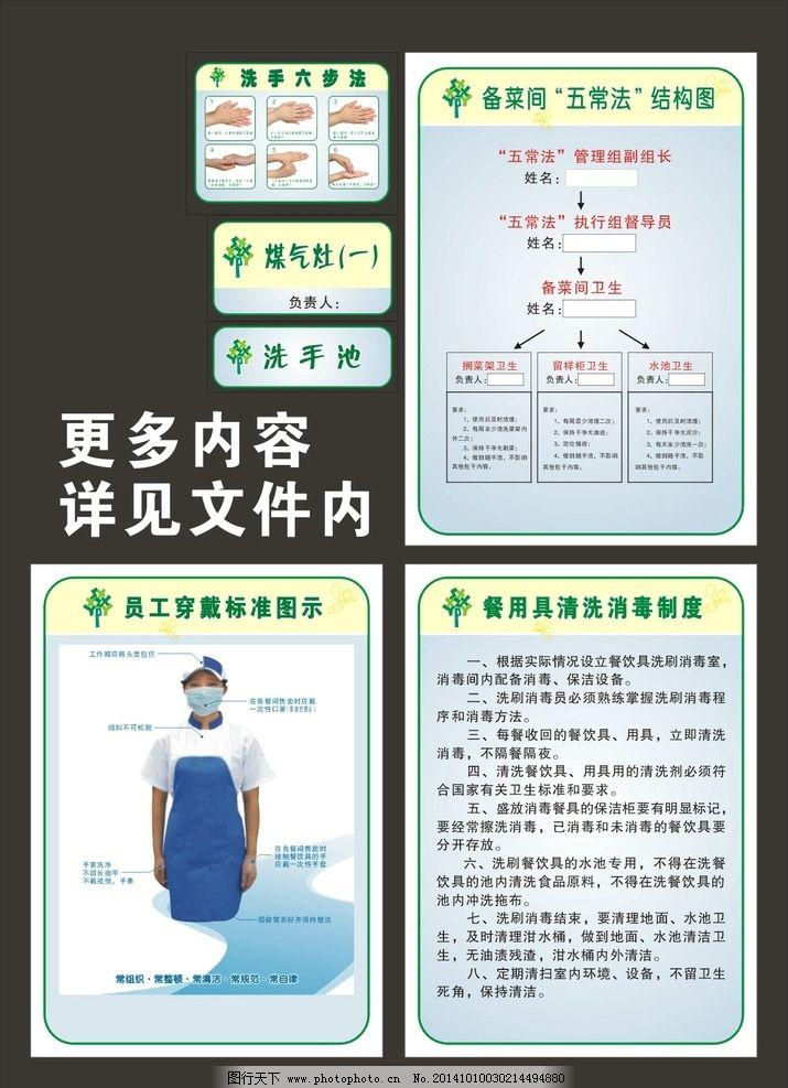 食堂 五常法 标牌 贴纸 洗手 学校 幼儿园 制度  设计 广告设计 展板