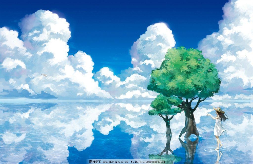 天空 倒影 动漫 人物 树 设计 动漫动画 风景漫画 100dpi jpg