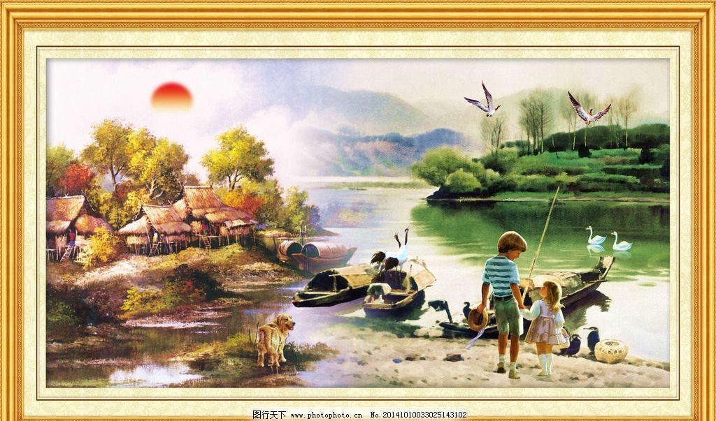 油画 山水油画风景 油画风景 欧式油画风景 欧式油画 古典油画 装饰画