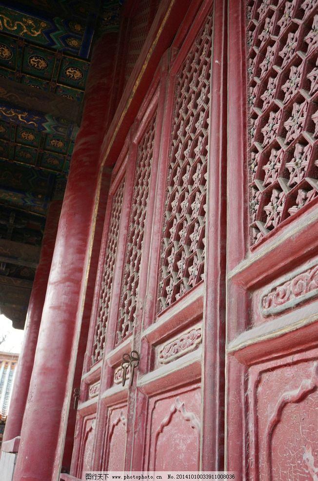 中式 古代 红色大门 柱子
