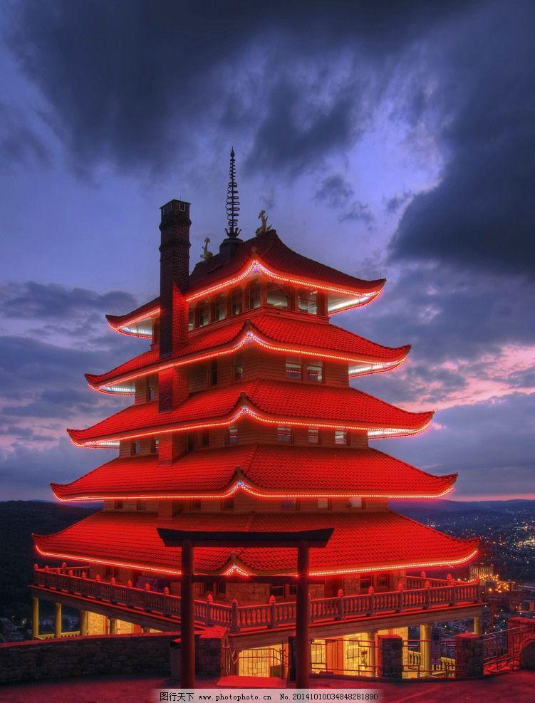 古典建筑图片,中国风 红色 天空 灯光 摄影-图行天下