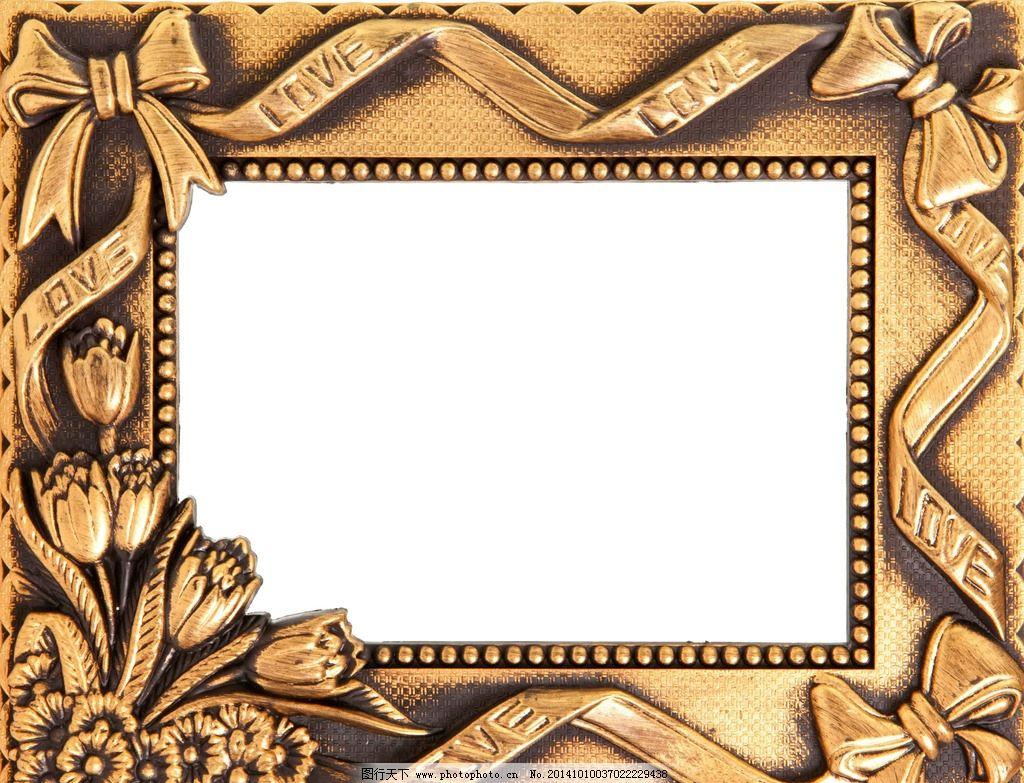 金属相框 欧式 欧式相框 金属 金色 材质 边框 花边 镶刻 方形 空白