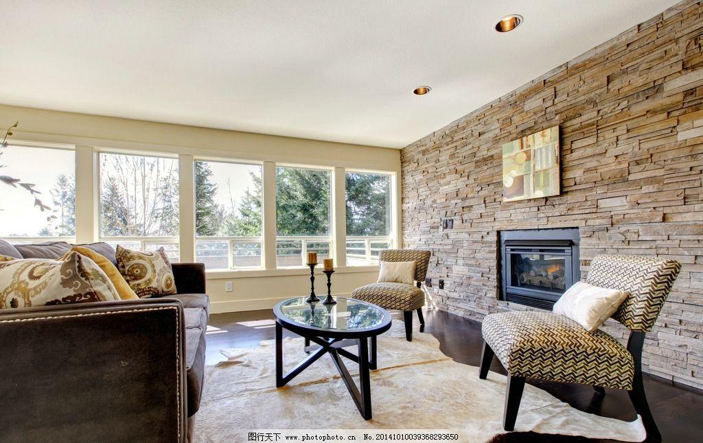 客厅 木地板 地毯 沙发 茶几 壁炉 室内摄影 建筑园林