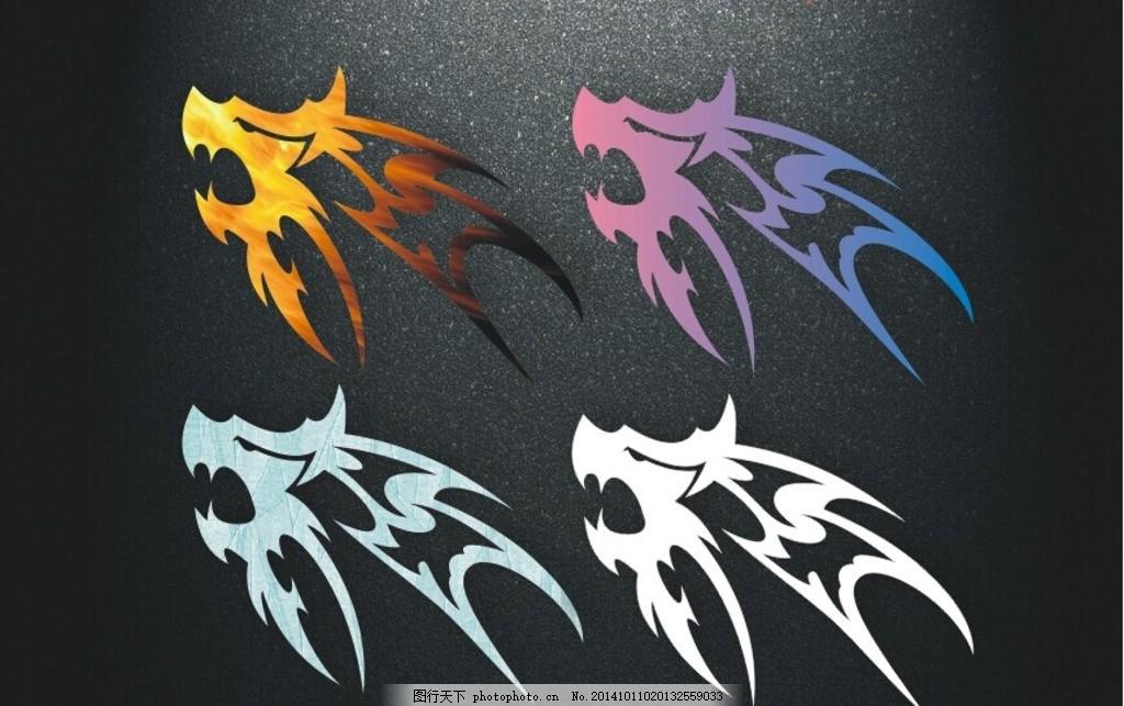 狼 矢量龙 纹身图案 印花图案 动物世界 潮流纹身 时尚纹身 纹身元素