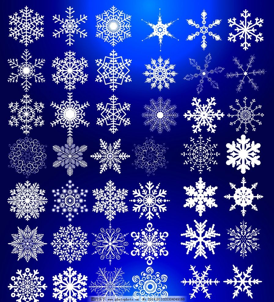 单片雪花 白色雪花 雪花花瓣 冬天雪花 花纹边框 设计 底纹边框 花边