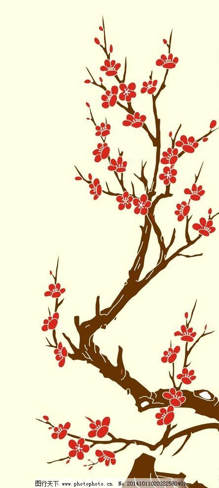 墙体 涂鸦 梅花 墙面 雕刻 时尚花纹 矢量花 装饰 墙贴 设计 广告设计